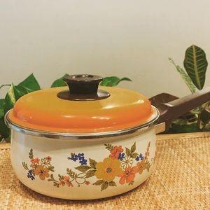 Vintage 70's Orange Floral Pot w/ Lid and Handle